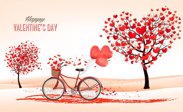 Fond de la saint-valentin avec des arbres en forme de coeur et un vélo.