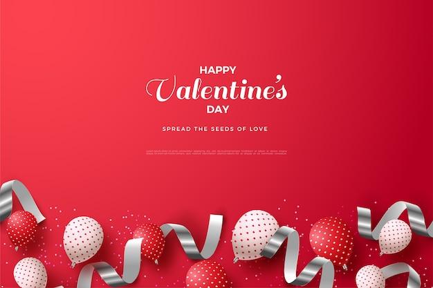 Fond de saint valentin avec des ballons 3d et des rubans d'argent.