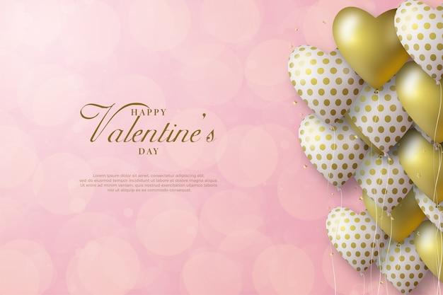 Fond de la saint-valentin avec des ballons d'amour blancs et or sur fond de bokeh blanc.