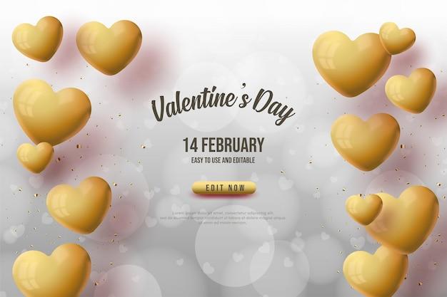 Fond de la saint-valentin avec des ballons d'amour dorés.