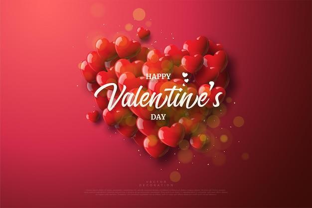 Fond de la saint-valentin avec des ballons d'amour empilés.