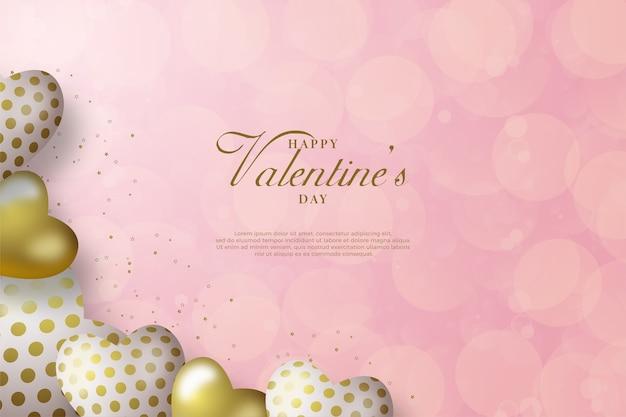 Fond de la saint-valentin avec des ballons d'amour sur fond de bokeh blanc.
