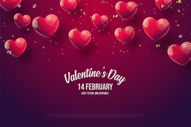Fond de la saint-valentin avec des ballons d'amour sur fond rouge foncé.