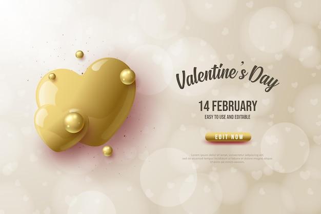Fond de la saint-valentin avec des ballons d'amour en or avec effet bokeh