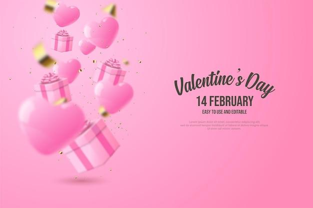 Fond de la saint-valentin avec des ballons d'amour roses et des coffrets cadeaux 3d.