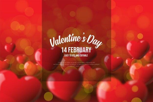 Fond de la saint-valentin avec des ballons d'amour rouges 3d.