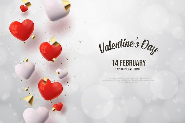 Fond de la saint-valentin avec des ballons d'amour rouges et blancs.