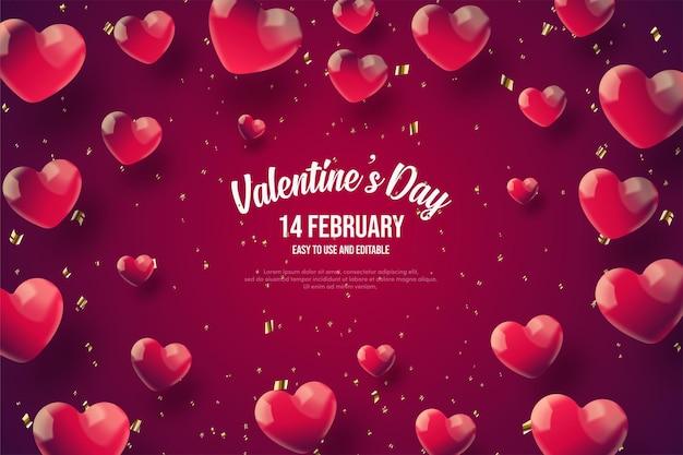 Fond de la saint-valentin avec des ballons d'amour rouges éparpillés.