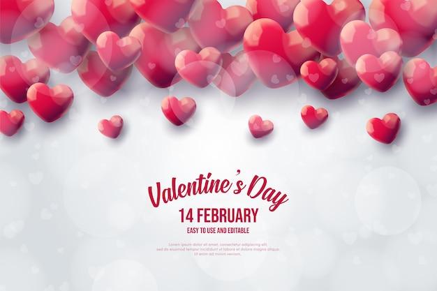 Fond de la saint-valentin avec des ballons d'amour rouges sur fond blanc.