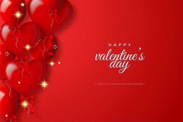 Fond de la saint-valentin avec des ballons d'amour rouges avec des rubans rouges.