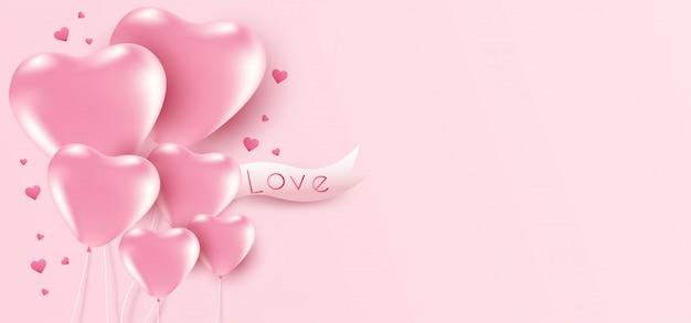 Fond de la saint-valentin avec des ballons coeur et fond.