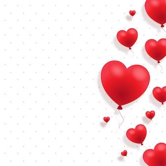 Fond de la saint-valentin avec des ballons de coeurs