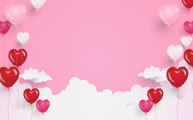 Fond de saint valentin avec des ballons en forme de coeur et des nuages