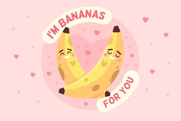 Fond de saint valentin avec des bananes