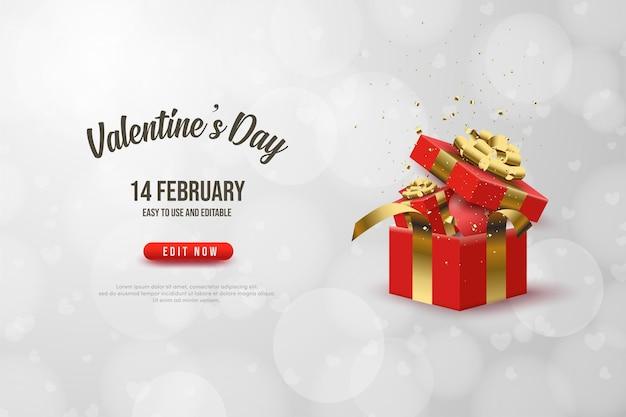 Fond de la saint-valentin avec une boîte-cadeau ouverte.