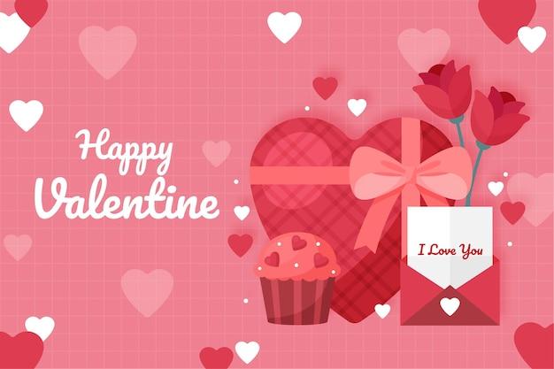 Fond de saint valentin avec cadeau