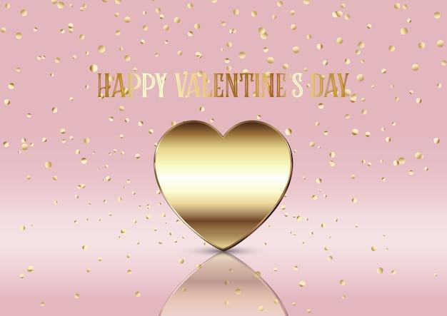 Fond de saint valentin avec coeur d'or et confettis