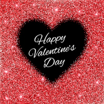 Fond de la saint-valentin avec coeur de paillettes rouges.