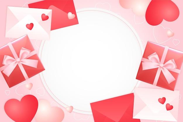 Fond de la saint-valentin avec des coeurs, des coffrets cadeaux et des enveloppes, vue romantique du haut