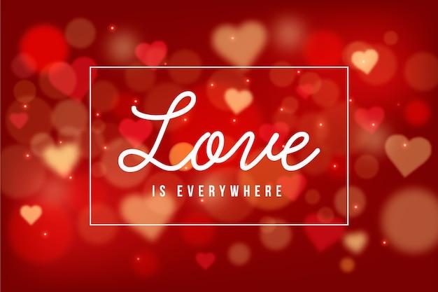 Fond de saint valentin avec des coeurs flous