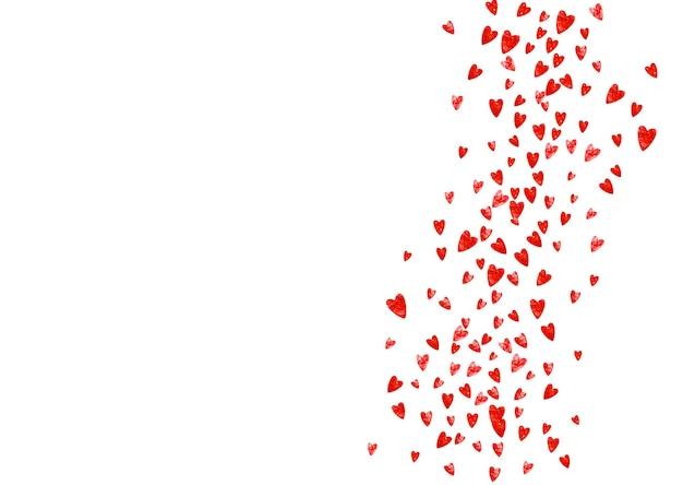 Fond de la saint-valentin avec des coeurs de paillettes roses. jour du 14 février. confettis de vecteur pour le modèle de fond de la saint-valentin. grunge texture dessinée à la main.