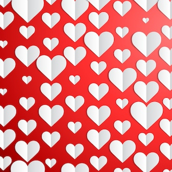 Fond saint valentin avec des coeurs de papier
