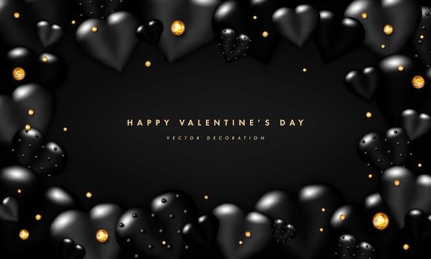 Fond de la saint-valentin avec des coeurs réalistes noirs