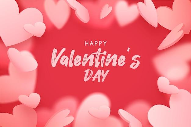 Fond de la saint-valentin avec des coeurs roses tombant, fond rouge romantique
