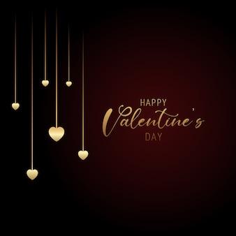 Fond de saint valentin avec coeurs suspendus