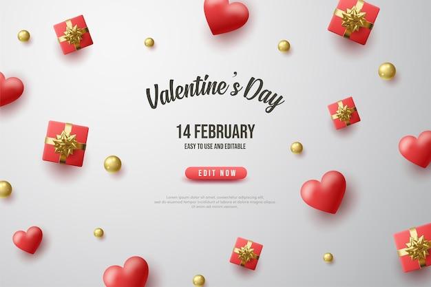 Fond de la saint-valentin avec des coffrets cadeaux rouges et des ballons d'amour.