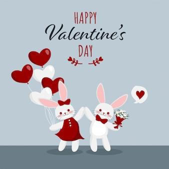 Fond de saint valentin avec couple de lapins mignons.