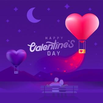 Fond de la saint-valentin avec couple silhouette et ballons en forme de coeur.