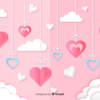 Fond de saint valentin dans le style de papier