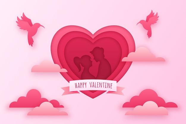 Fond de saint valentin dans un style papier