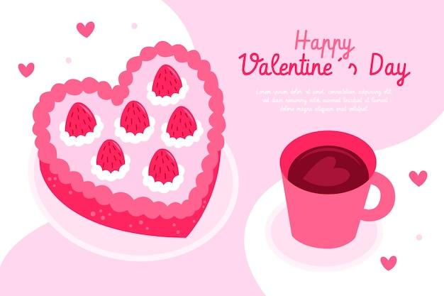 Fond de saint valentin dessiné à la main avec café