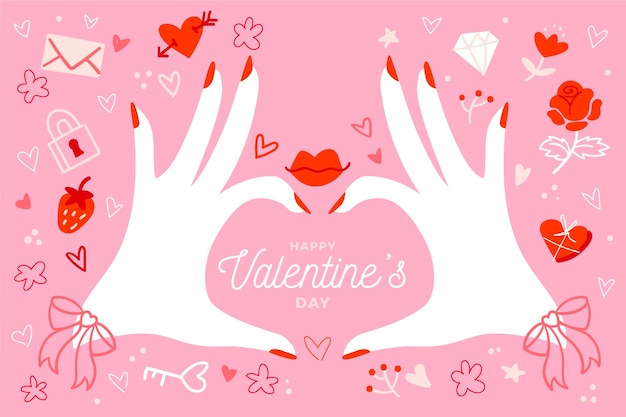 Fond de saint valentin dessiné à la main avec les mains faisant le coeur