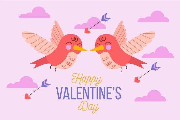 Fond de saint valentin dessiné main mignon