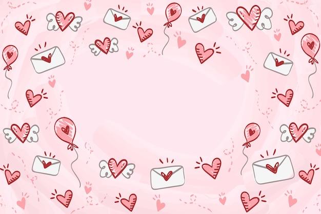 Fond de saint valentin dessiné à la main