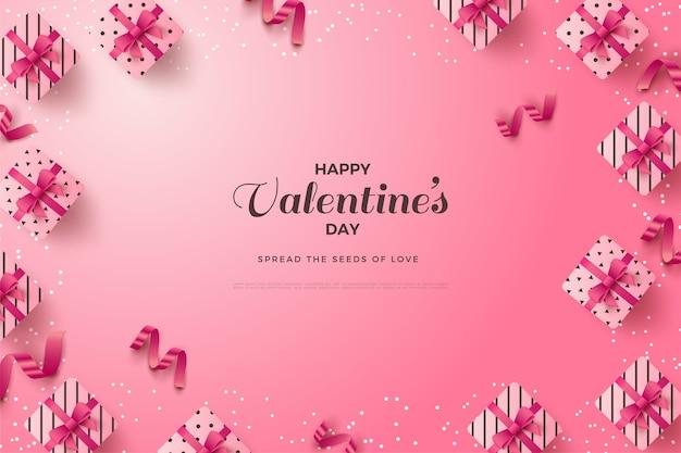 Fond de la saint-valentin avec l'écriture autour des coffrets cadeaux et des rubans roses.