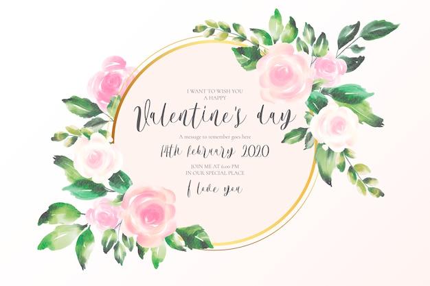 Fond de saint valentin avec des fleurs roses douces