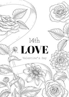 Fond de saint valentin floral dessiné à la main.