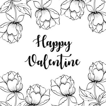 Fond de saint-valentin floral noir et blanc