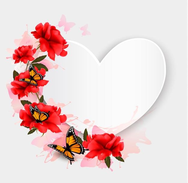 Fond de la saint-valentin. fond en forme de coeur avec des roses et des papillons.