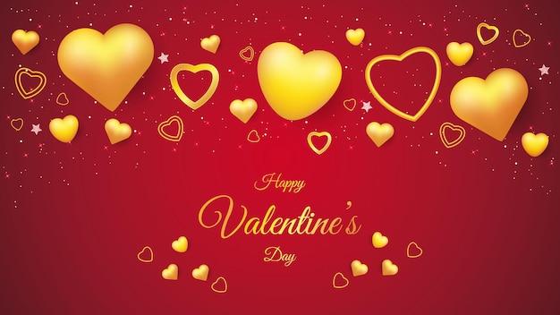 Fond de la saint-valentin avec forme d'amour dorée
