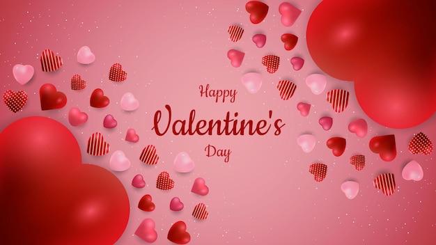 Fond de la saint-valentin avec forme d'amour flottant