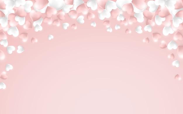 Fond de saint valentin heureux, coeurs roses et blancs