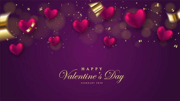 Fond de la saint-valentin avec illustration d'amour en forme de ballon 3d sur un fond sombre.
