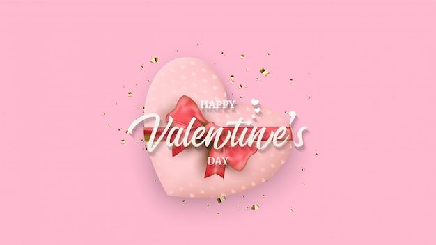 Fond de la saint-valentin avec une illustration d'une boîte-cadeau d'amour sous écriture blanche