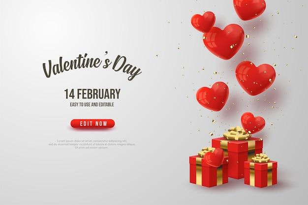 Fond de la saint-valentin avec illustration de boîte cadeau rouge et ballons d'amour.