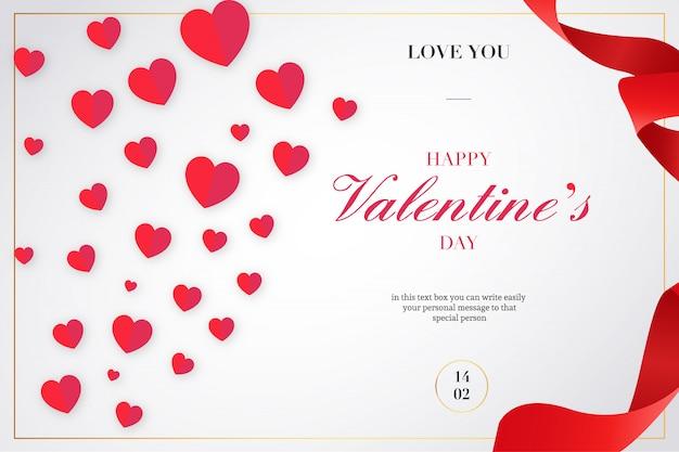Fond de saint valentin avec des rubans et des coeurs